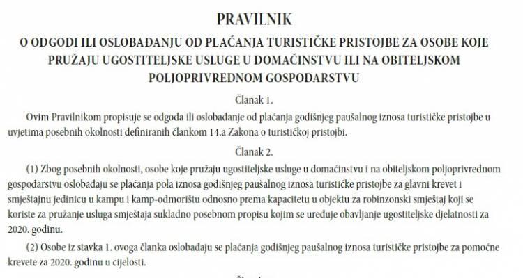 Pravilnik o odgodi ili oslobađanju od plaćanja turističke pristojbe za osobe koje pružaju ugostiteljske usluge u domaćinstvu ili na obiteljskom poljoprivrednom gospodarstvu